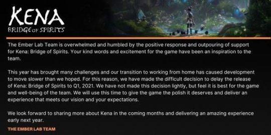 《柯娜:精神之桥》将延期发售!疫情远程办公导致!
